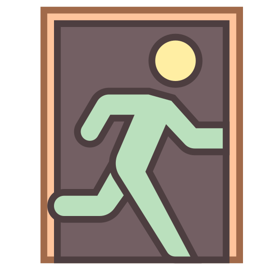Exit Sign icon. This sign shows a door with an outline of a person going through it. The purpose of this logo is to show people the exit if they are looking for one.
