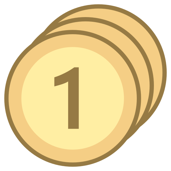 Drogi icon. The icon shows a round button with the number one. it is three circles that appears to make a base for the button that has the number one prominently shown on the front.