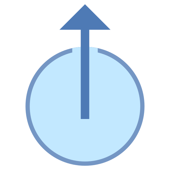 External icon. The icon is shaped like a circle. At the top of the circle is a slight opening where the two ends do not meet. Starting from the center is an arrow pointing up towards the opening like the hand of a clock pointing towards the 12.