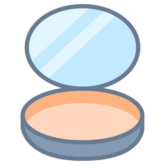Cipria icon. There is a lid open with three lines inside the lid. The bottom part of the container has a circle in the middle of it. That circle takes up most of the container opening.