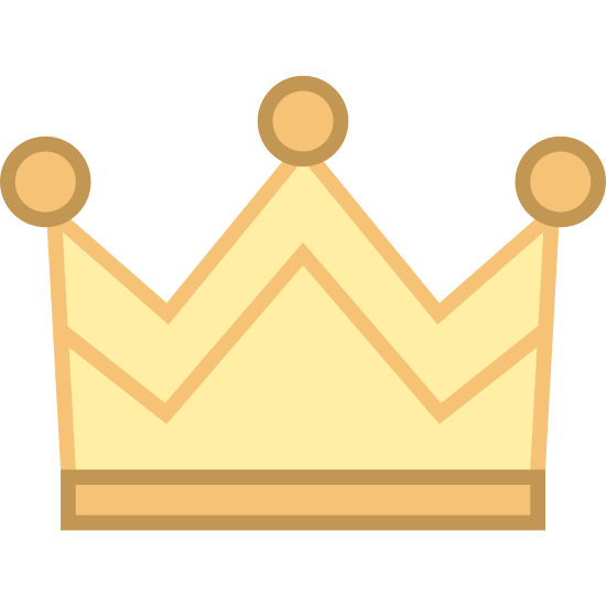Fairytale icon. The icon for fairytale looks like a crown that a king would wear. It has a long rectangle bottom with a square top that has two triangles cut out of the top to give it three pointy tops. On the pointy tops there is a circle on each of them.