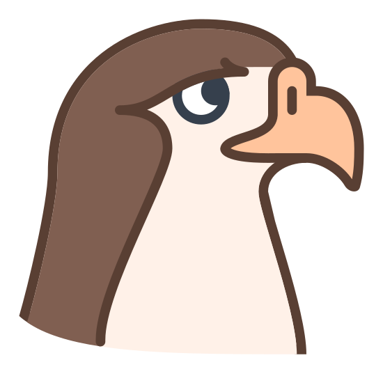 Falcon icon. This icon represents a falcon. The top of the icon is rounded leading down into a beak with a point. From the beak, it follows down into a straight line. The icon only includes the head on the falcon with an eye in the middle.