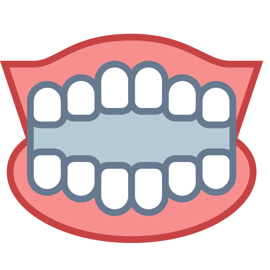 Sztuczne zęby icon. This is an icon for false teeth. The top and bottom portions of the teeth are not connected. The top is slightly larger than the bottom. The teeth are rounded rectangles and there are six on both the top and bottom rows.