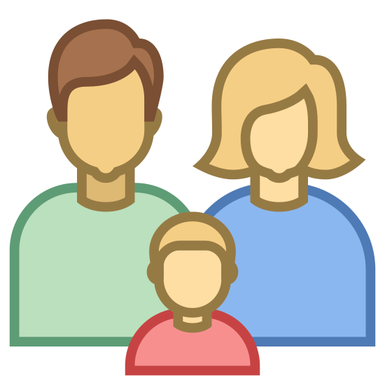 Family icon. Three people are standing in a close group. The group is composed of a man, a woman, and a child. The child is standing in front of the adults. The woman is wearing a dress.