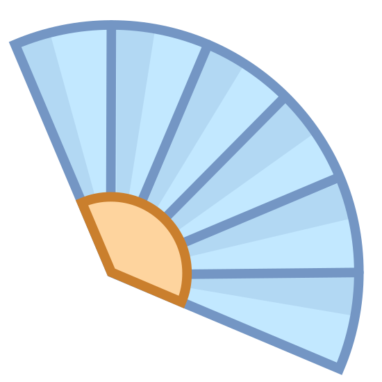 Hand Fan icon. The icon is a picture of a fan. The fan is more like an ancient one, not one powered by electricity. It is a flat surface that can be held and swung to produce air flow to a direction.