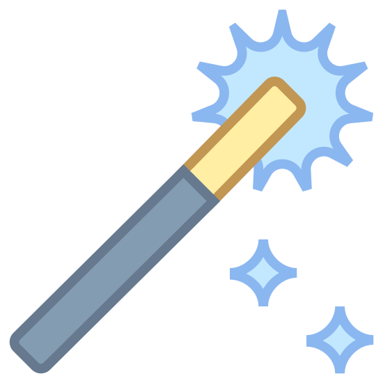 Fantasy icon. There is a long thin curved rectangle that looks like a magic wand. This rectangle shape also has several star shapes coming out of the top of the wand shape.