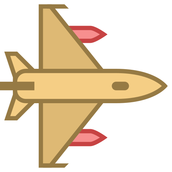 Fighter Jet icon. The icon is a picture of a jet. The icon is describing the logo fighter jet. The icon has what appears to be two guns on each wing. The jet is from birds eye view, and the nose of the jet is facing to the right.
