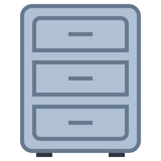 Filing Cabinet icon. The icon is a filing cabinet. It is shaped like a column, with three drawers on it. The drawers are rectangular and similar in appearance. The bottom and top drawers are beveled while the middle drawer is not. Each drawer has a handle.