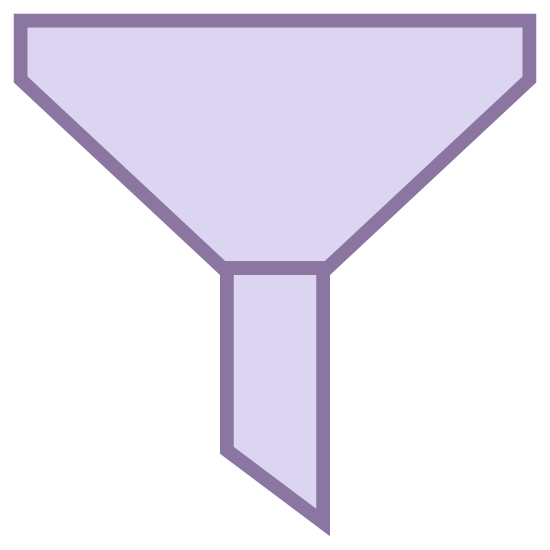 Filter icon. The image is depicting a funnel-like object. The object is segmented into two portions, the bottom shape is rectangular and asymmetrical whereas the top half is more of a trapezoid shape with rounded corners.
