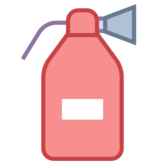 Gaśnica icon. It is an icon of a fire extinguisher. It is the shape of a bottle with a nozzle on top. The nozzle is a rectangle it a cone shape attached on the right side. On the left there is a tiny circle with a string underneath it.