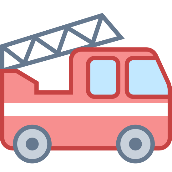 Fire Truck icon. This is a fire truck that has a ladder attached to the back end of it. Its a side view of the truck so you can see two wheels and the main cab where the fire fighters ride. The ladder is attached by a pole and it is currently in a slightly tilted position.