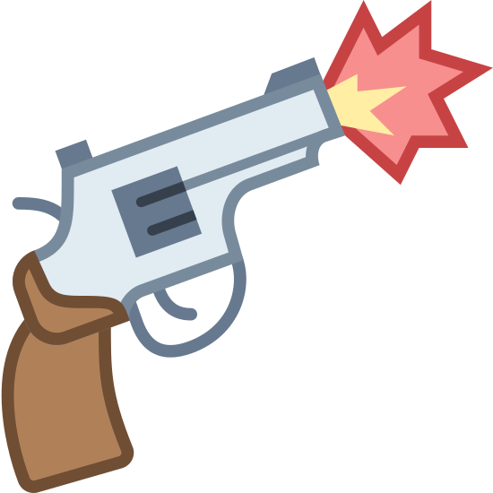 Firing Gun icon. It is a small, revolver-type gun with a short handle and very short barrel, somewhat like a children's cap gun. It has two starburst explosions coming out of the barrel, indicating that it is being fired.