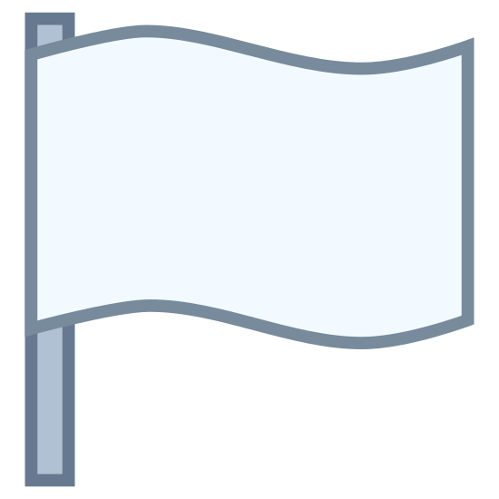 Flag 2 icon. This is an icon for representing flag 2. There is a long vertical line with the flag waving to the right of it. There is nothing on the flag. It is plain. The flag is made up of two curved perpendicular lines and a vertical line at the end.
