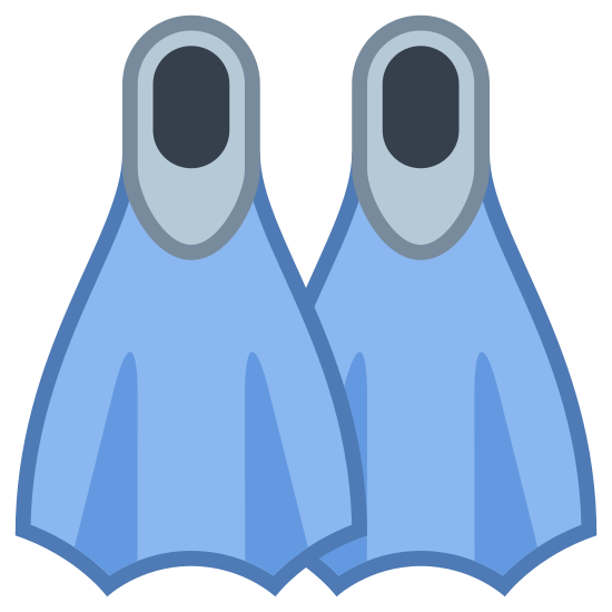 Flippers icon. It is a pair of Flippers, with a oval section on the top. The oval top is attached to a flared section with two partitions.