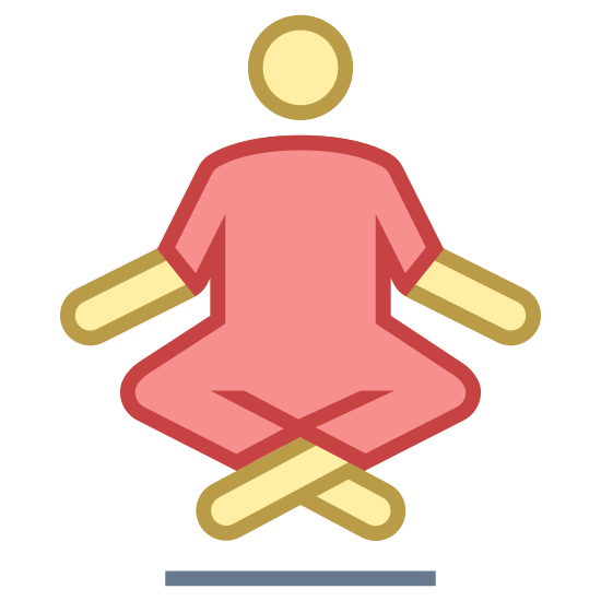 Floating Guru icon. The icon is of a person sitting with their legs crossed and their hands on top of their knees. The person is floating slightly above the ground.