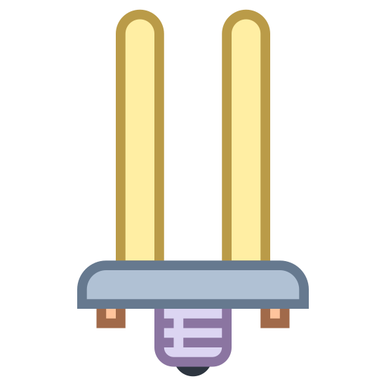 Fluorescent Bulb icon. This icon looks like a fluorescent lightbulb. There is a socketed square base at the bottom, and two rounded oval-shaped cylindrical prongs protruding from the top.