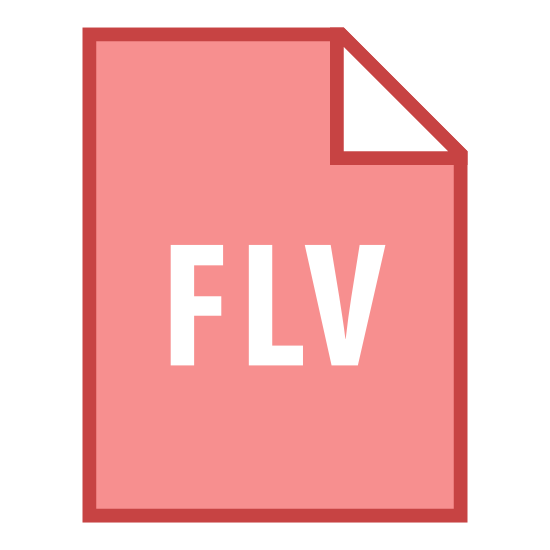 "FLV icon. The icon looks like it is a plain page of paper with a dog eared corner. Placed on the paper are the capital letters ""FLV."" One would normally think this icon associates with some sort of computer file."