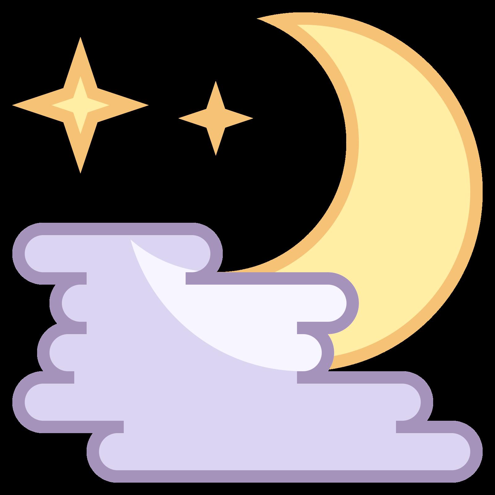 雾夜 icon. This icon is three small lines, staggered in an alternating way with half of a crescent moon shape drawn over it. The moon shape begins on the top of the top line and goes down on the right side of the three lines ending on the end of the third line.