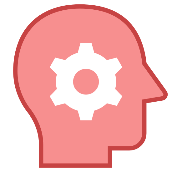 Dla doświadczonych icon. There is a 2D view of a face being viewed from the side, theres no detail other then a single cog over the area of the brain, giving the idea of complex thought or knowledge or something of those likes.