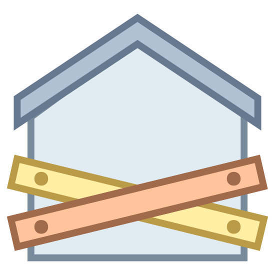 Foreclosure icon. This logo for foreclosure is a house with wooden boards nailed to it in the front. The house has an angled roof with a small chimney protruding from it's rear. The boards are nailed in an X pattern across the front to signify that the house has been foreclosed upon.