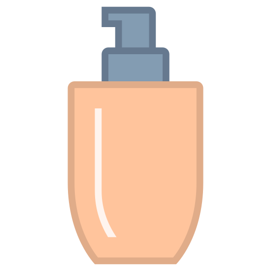 Trucco di base icon. There is square like shape at the bottom with semi soft edges. there is a square right on top of it with a spray area at the very top that you can push in.