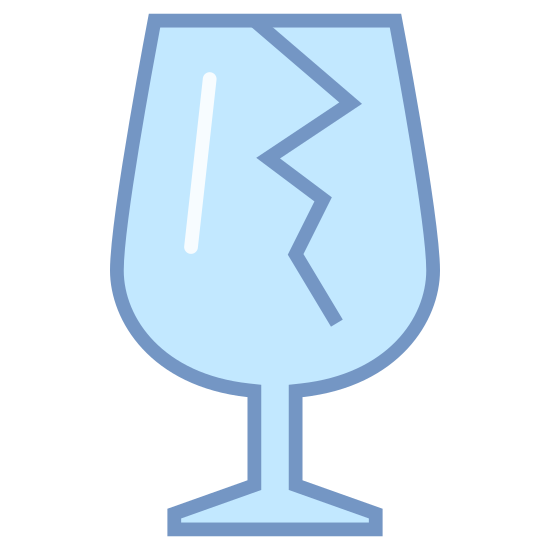 "Fragile icon. This is an image of a wine glass. The wine glass has a crack from the top rim going down into the middle. This is exactly like the image you would see on many boxes to indicate ""fragile"" or ""breakable"" items within."