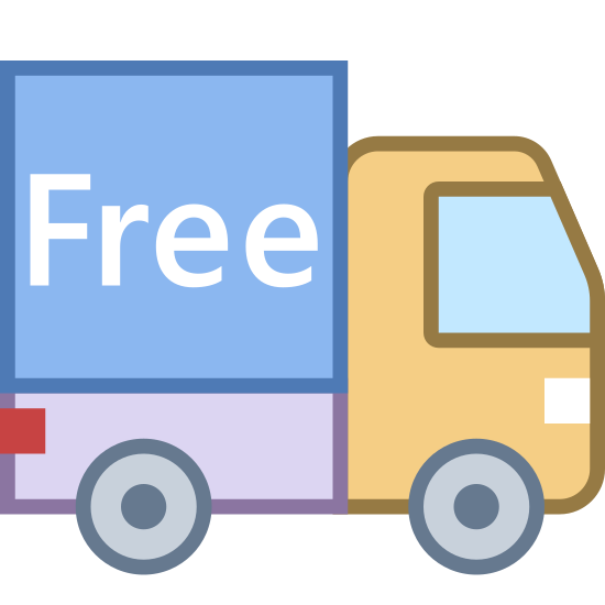 "Envío gratuito icon. This is a photo of a truck. The back of the truck is a square with the word ""FREE"" in the center of it. One circle is on the bottom of the square, and there is another circle under the front, which is square-like with one flat side on the right."
