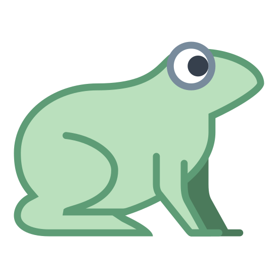 Sapo icon. It's an image of the side profile of a frog.  The frog is sitting with all four legs on the ground, and his eye looking forward.  The frog could quickly jump from this position.