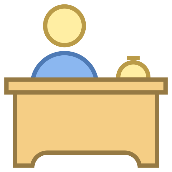 Front Desk icon. The image is a large desk with a little bell on the top right. There is a person behind the desk. The head and upper torso of the person is shown but they have no hair or facial features.