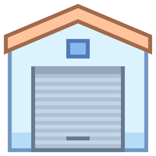 Warehouse icon. There is the front-facing side or entrance of a large garage. The garage door lacks much detail, as does the garage itself. It's roof shape resembles a barn but it's obviously a garage as the garage door is closed and its handle is visible.