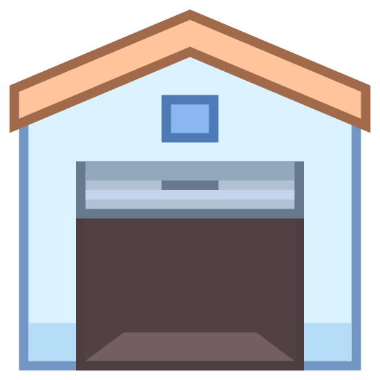 Depot icon. This icon is of an outline of a house with a angled roof from a straight on perspective. The house is seen from the side facing the garage door. The garage door is mostly open with only one quarter of the door visible, you can also see the handle just below the top of the garage door.