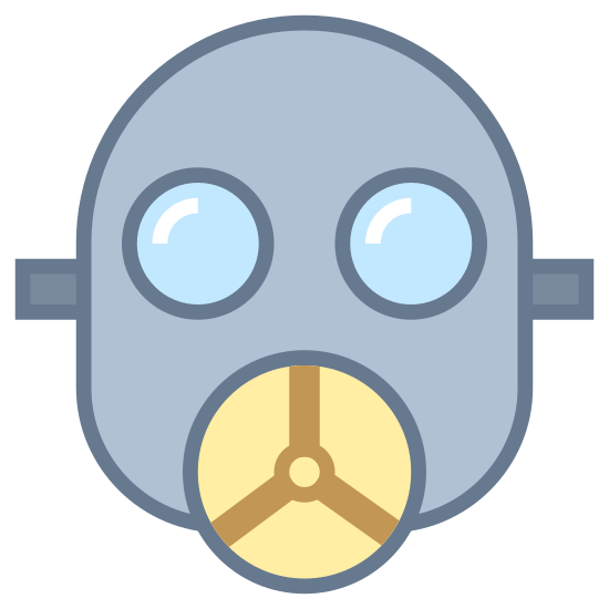 Gas Mask icon. This icon is a hairless face that has a gas mask on. It is a typical gas mask. It has big eyes, and a round breathing device in the mouth part.