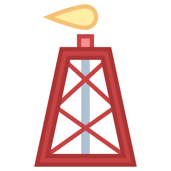 Gas Rig icon. This icon shows a gas rig. There is a tower with criss-crossing lines that form three x's. There is a vertical line going through the middle of the rig and a little flame on top.