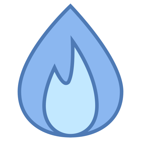 Газ icon. This is a logo of a singular flame. It is an outline of just one part of the flame, the top line meeting to a soft point, and the underside of the flame having two zagging points.