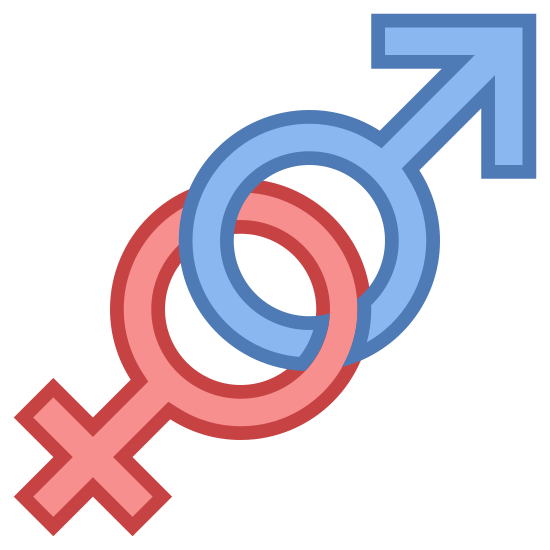 """Gender icon. It's a gender icon, represented by two circles, interlocking. The one to the left is lower, with a cross, """"addition sign"""" extending diagonally to the left downward. The circle that is higher and to the right has an arrow pointing upwards and to the right extending from its outer center. These represent male and female."""