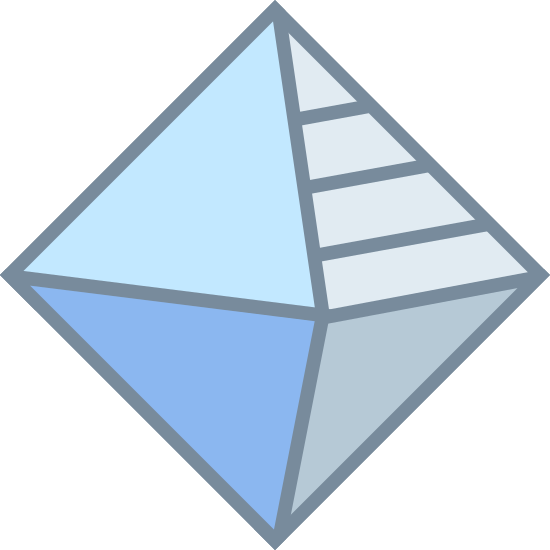 Geometría icon. It is a logo of a 3-dimensional diamond. The left sides are plan, but the upper right has dots and the bottom right has stripes.