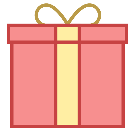 Gift icon. It's a logo to represent a gift and looks like a square box with a ribbon around it. The logo has a square lid on top of the square box an the ribbon on top is tied to look like tied shoe lace.