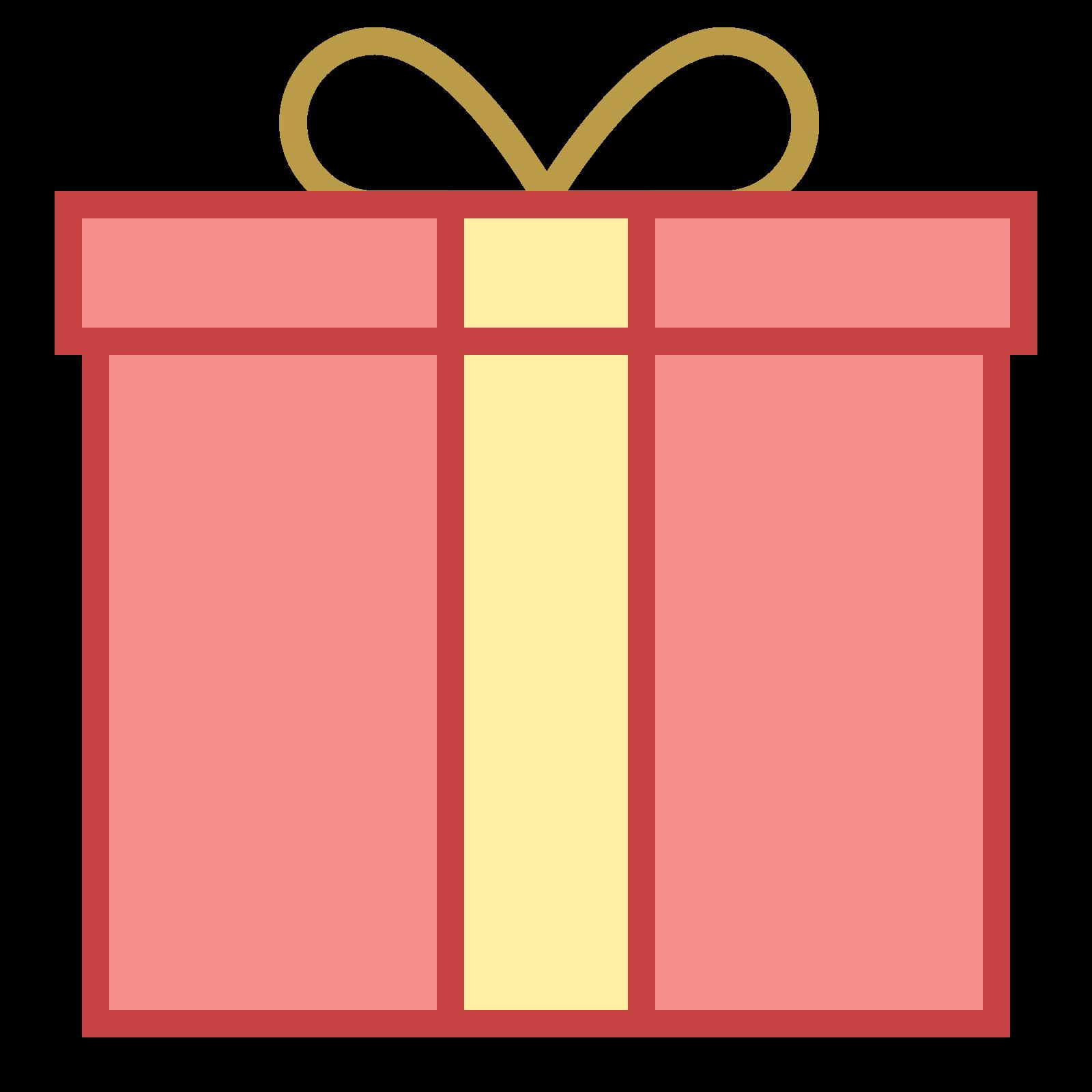 贈り物 icon. It's a logo to represent a gift and looks like a square box with a ribbon around it. The logo has a square lid on top of the square box an the ribbon on top is tied to look like tied shoe lace.