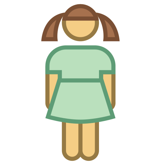 Dziewczyna icon. The.logo of the girl consists of a stick figure with two triangles coming out of the head to represent pigtails. The figure is also wearing a dress with long sleeves.