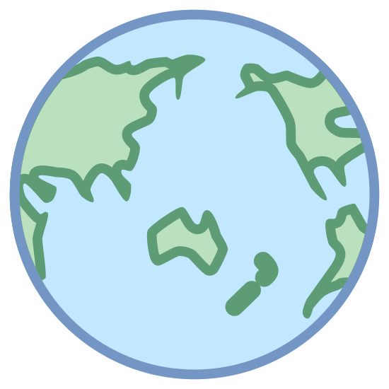Asia icon. The icon is a simplified depiction of the planet Earth, centered in the Pacific Ocean just north of Australia. The globe permits a good view of Asia, intended to be the focused-upon area, while permitting glimpses of part of Africa and both Americas. The continents are represented by crude outlines.