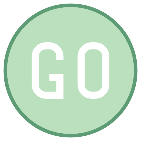Go icon. There is a circle. in it, it has two letters. it says GO inside of the circle right in the middle of it in capital letters and it is very bold