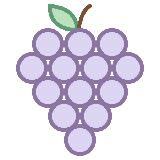 Winogrona icon. It's an icon of a bunch of grapes with a short stem still attached. The stem is at the top and cut off at the very top, where there are eight circles evenly spaced representing each of the hanging grapes.