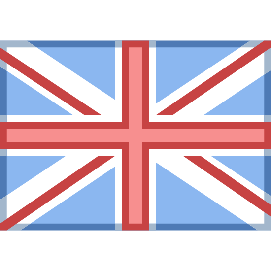Great Britain icon. It's a logo of the flag of the United Kingdom. It's a rectangle with a cross in the middle then another thinner cross outlining that with lines going diagonally out of it to the edges too.