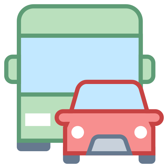 Public Transportation icon. It's a logo with a car in front of a bus. The car is positioned to the right, front side of the bus, covering its left headlight. The car and the bus have rounded corners.