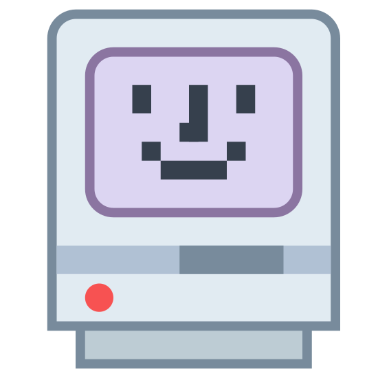 Szczęśliwy Mac icon. The image is of a square with a face inside of another larger square. The face has two eyes, a nose, and a smiling mouth. Underneath both squares is a smaller rectangle that the bigger square is sitting on.