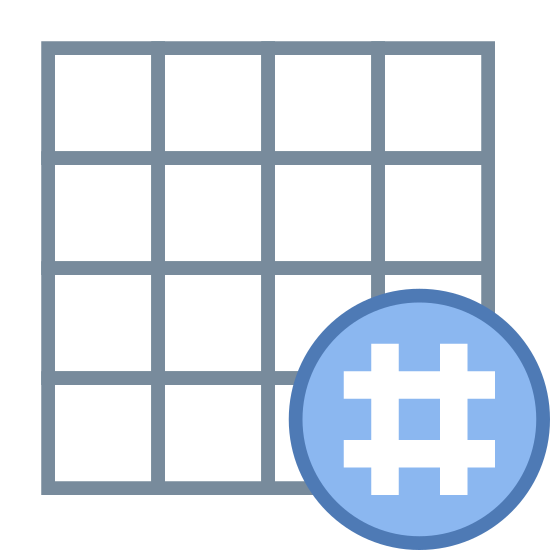 Grade com hashtag icon. There is a square that has been divided into 4 columns and 4 rows. in the lower right hand corner the square is wited out so se can not see it and the pound sign is in the whited out area