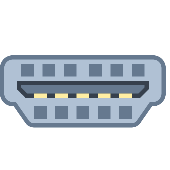 HDMI Cable icon. This icon is depicting an HDMI cable or plug and is distinguished by the presence of a micro-chip in place of where prongs would typically be. The base of the plug is a trapezoid shape and leading out of the plug is a wire.