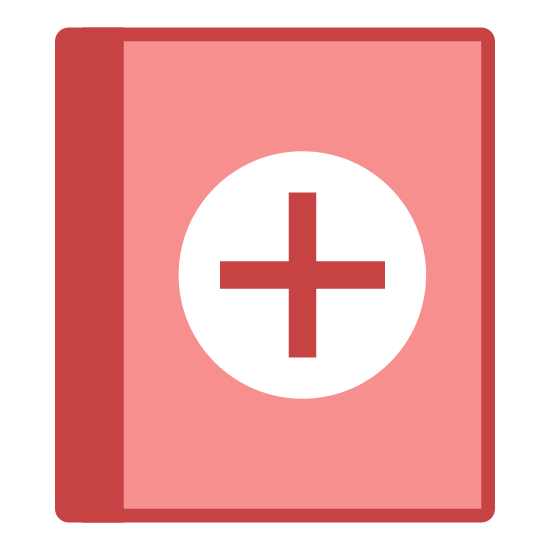 Health Book icon. It kind of looks like a little book. It's a rectangle with dashes on the side that represent the spirals of a notebook. There's a cross right on the front. Like the red cross. Or a Templar shield.
