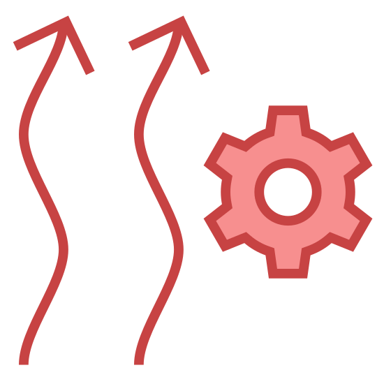 Heating Automation icon. The icon resembles two squiggly vertical arrows that are pointing up. The arrows are placed side by side to each other. To the right of the arrows towards their center is a cog like shape.