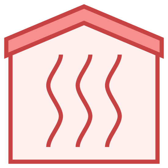 暖气房 icon. A square with rounded edges, except where the top side of the square would be there is instead the roof. The shape overall resembles a simple house. Inside there are three curvy lines that run towards the roof of the house to the bottom of the square. Each of the curvy line is next to each other.